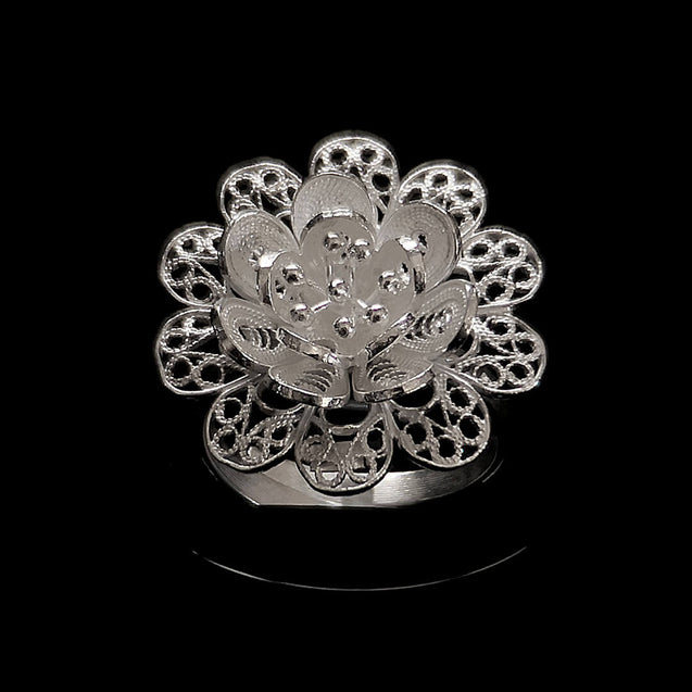 "Handmade Ring ""Babylon"" Filigree Silver Jewelry from Cyprus"