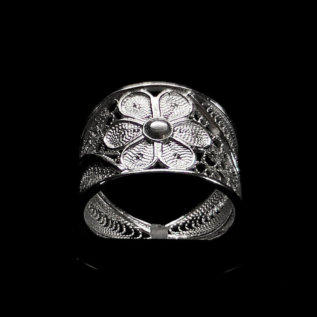 "Handmade Ring ""Stellar"" Filigree Silver Jewelry from Cyprus"