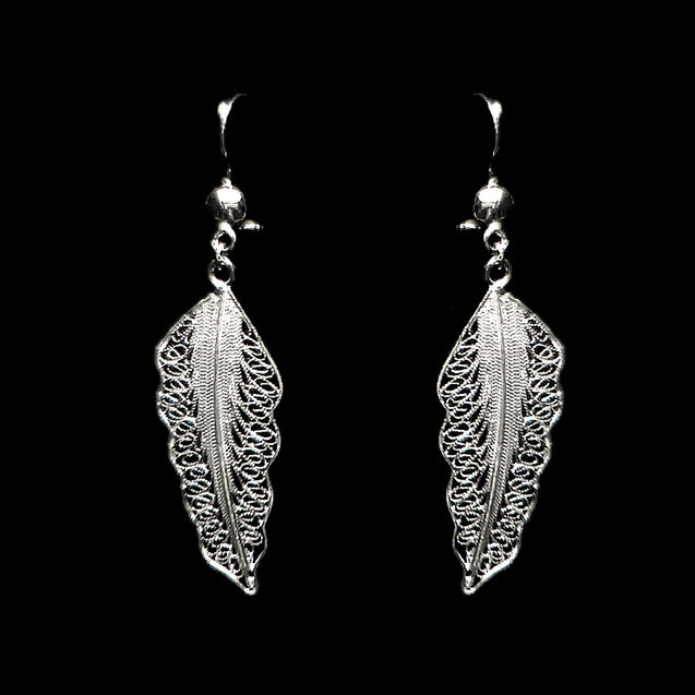 "Handmade Set ""Wing"" Filigree Silver Jewelry from Cyprus"