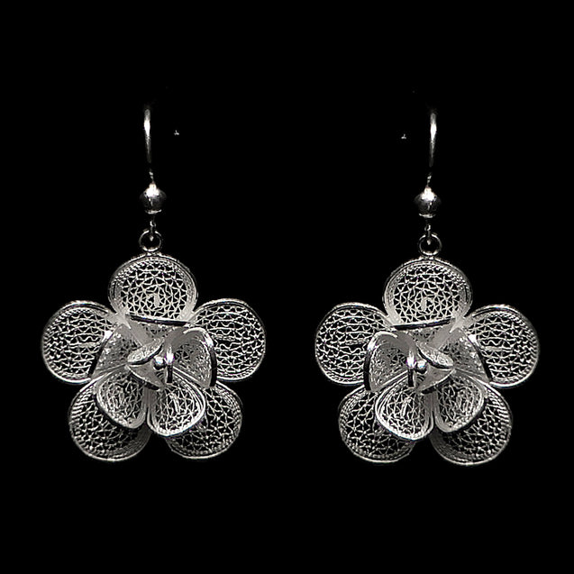 "Handmade Set ""Lily"" Filigree Silver Jewelry from Cyprus"