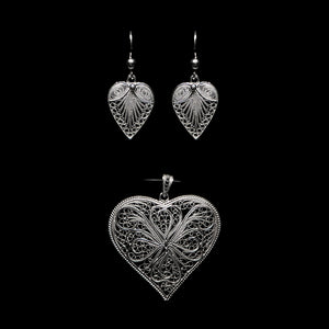 "Handmade Set ""Heart"" Filigree Silver Jewelry from Cyprus"