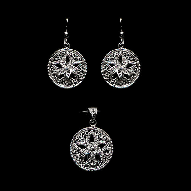 "Handmade Set ""Shiny Star"" Filigree Silver Jewelry from Cyprus"
