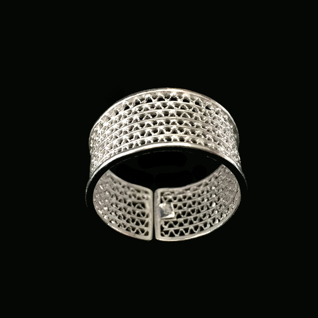 "Handmade Ring ""Moon"" Filigree Silver Jewelry from Cyprus"