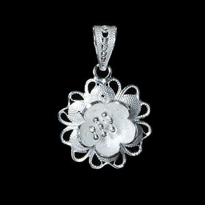 "Handmade Pendant ""Star Flower"" - Pendant -  Lefkara Silver Jewellery  - Handmade silver filigree jewelry made in Cyprus"