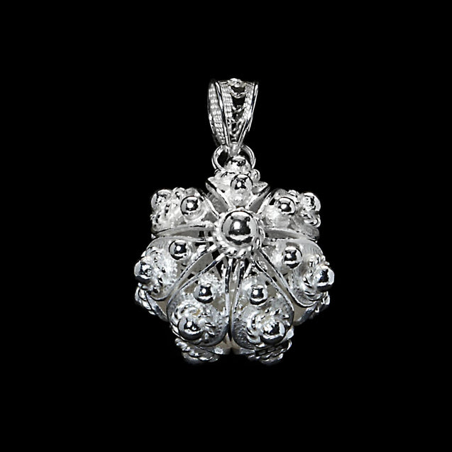 "Handmade Pendant ""United"" Filigree Silver Jewelry from Cyprus"