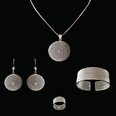 "Handmade Set ""Moon"" - Set -  Lefkara Silver Jewellery  - Handmade silver filigree jewelry made in Cyprus"