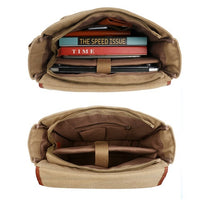Oflamn  Leather/Canvas Laptop Shoulder Bag for 14 inch / 15 inch Laptop - Khaki (L009056) شنطة لاب توب