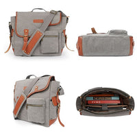 Oflamn  Leather/Canvas Laptop Shoulder Bag for 14 inch / 15 inch Laptop - Grey (L009057) شنطة لاب توب