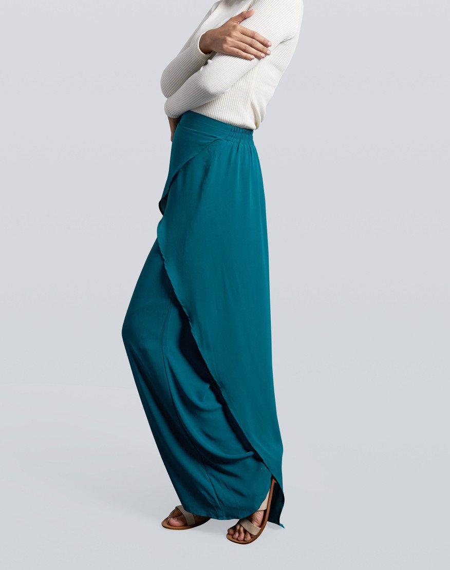 Wrap Pants in Emerald Green