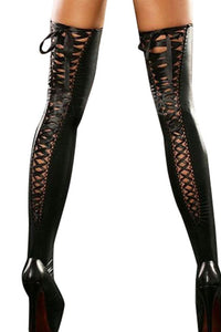 Emelia Thigh High Leather-Look Stockings