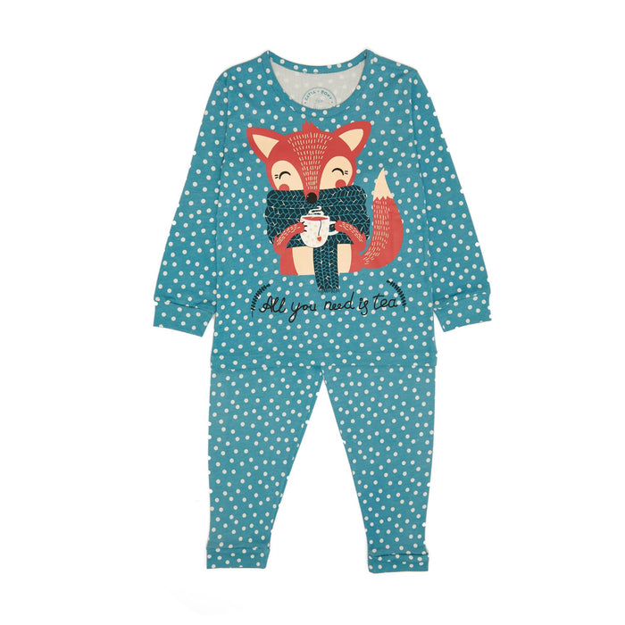 Fox All Over Print Kız Çocuk Pijama Set