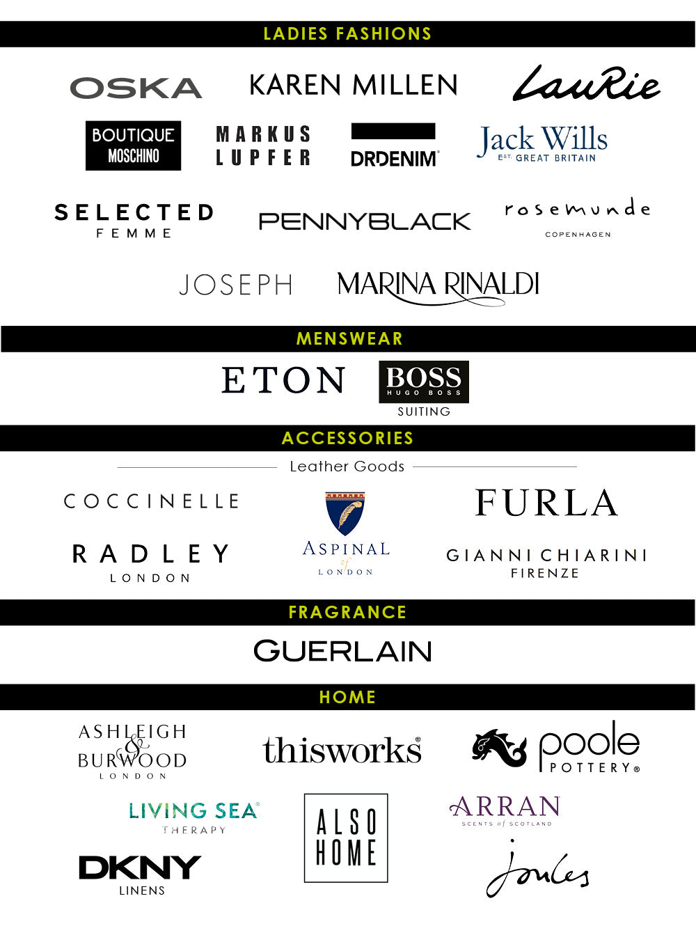 Brands Included in the Black Friday Event at Hoopers Wilmslow
