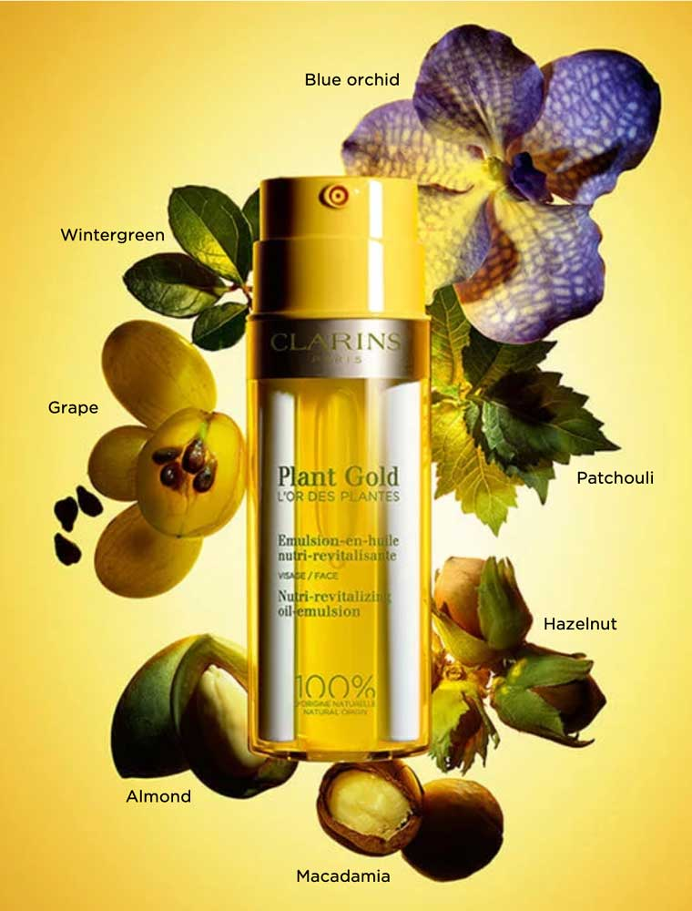 Clarins Plant Gold stimulates the mind and body thanks to Clarins Aromaphytocare