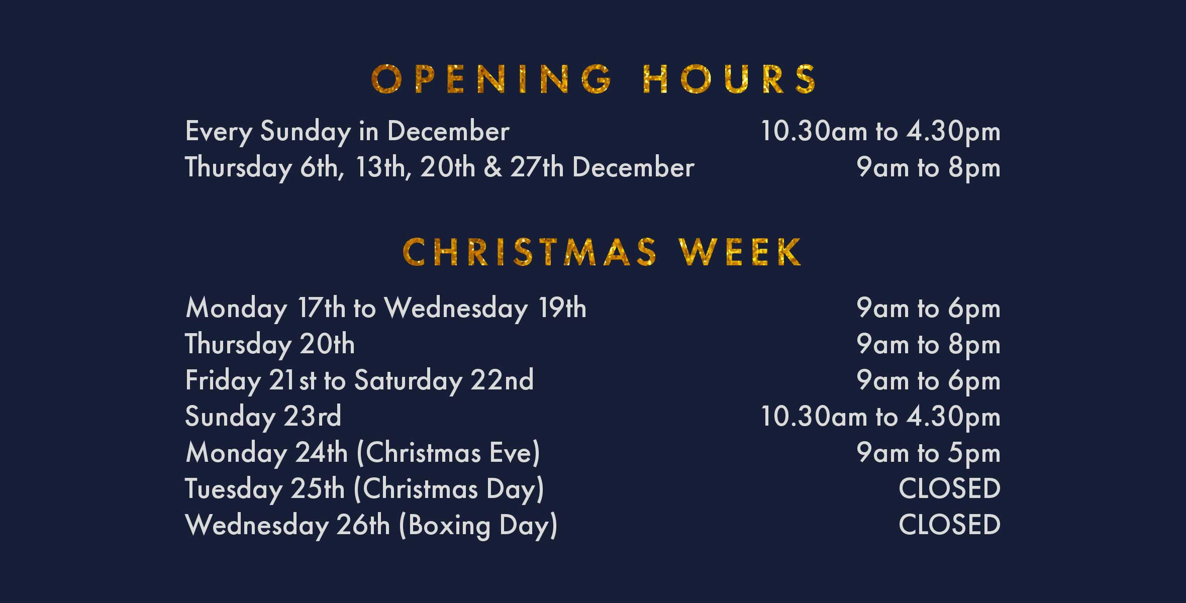 Opening Hours at Christmas