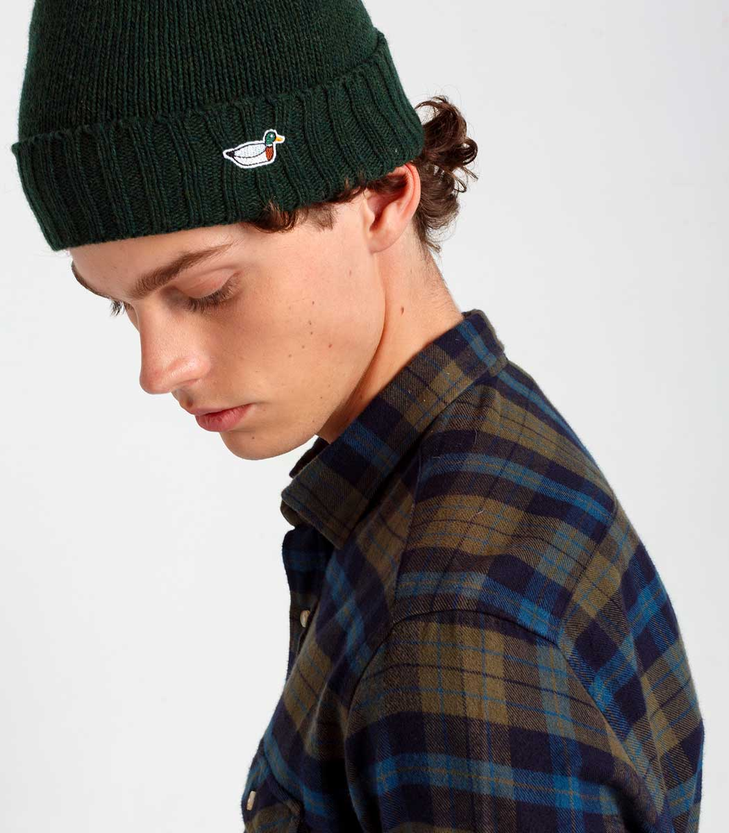 Edmmond Studios Checked Mountain Shirt in Khaki with the Duck Beanie in Green
