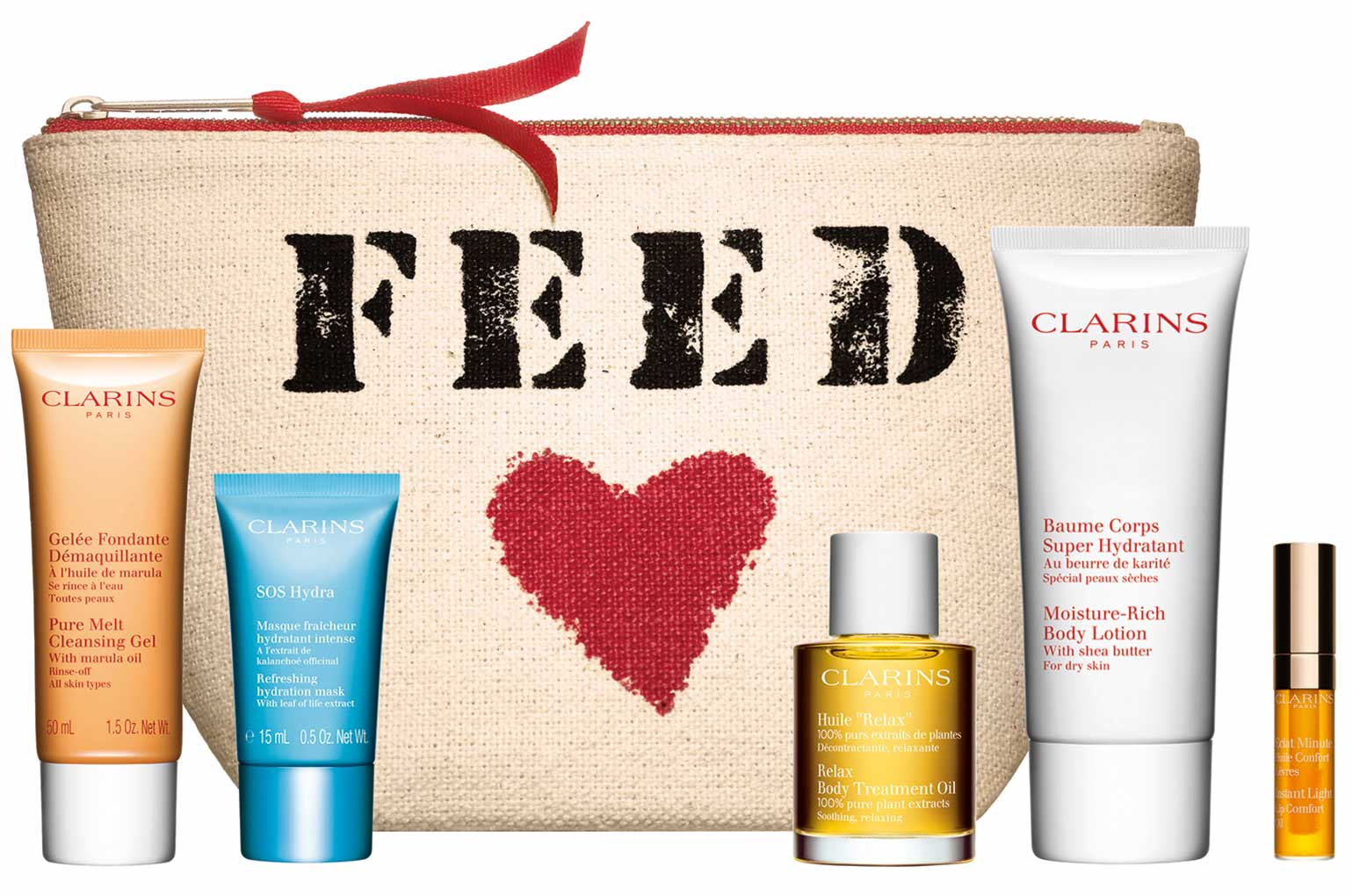Clarins FEED 10 gift with purchase – Beauty from the heart