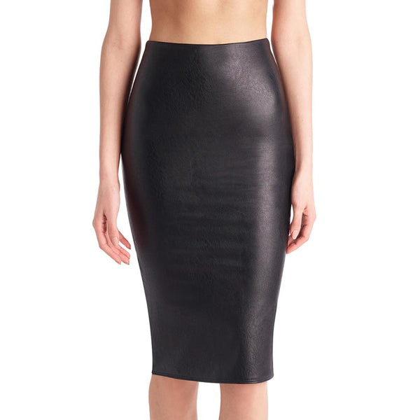 Commando Controlled Black Faux Leather Pencil Skirt • Medium