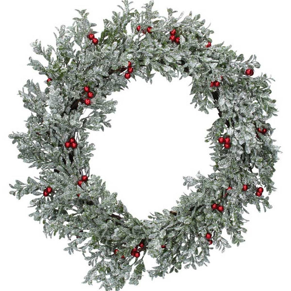 Gisela Graham Silver Glitter Leaf Wreath with Berries
