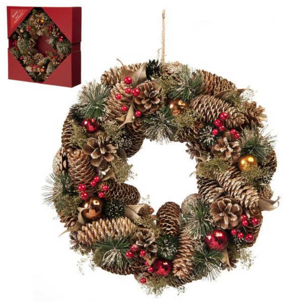 Festive Gold Pinecone & Red Berries Wreath