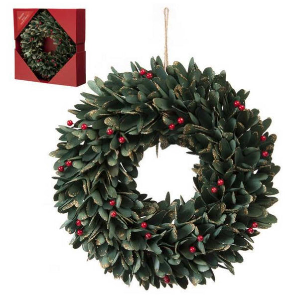 Festive Green Leaf and Red Berries Wreath