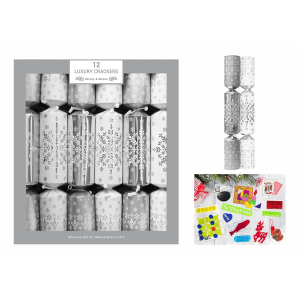 Harvey & Mason 12 Luxury Silver Snowflake Crackers