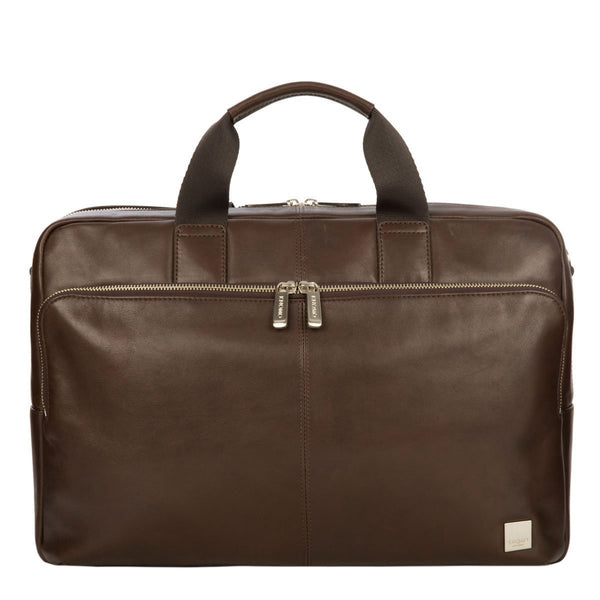 Knomo Leather Amesbury Laptop Briefcase Brown 15""
