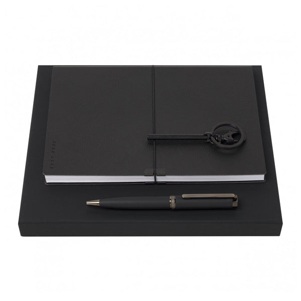 Hugo Boss Pen, A5 Notebook & Column Keyring Set