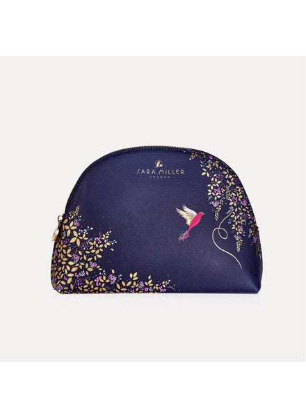 Sara Miller Navy Hummingbird Medium Cosmetic Bag