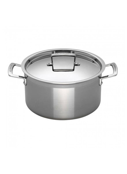 Le Creuset 3-Ply Stainless Steel Deep Casserole with Lid 24cm