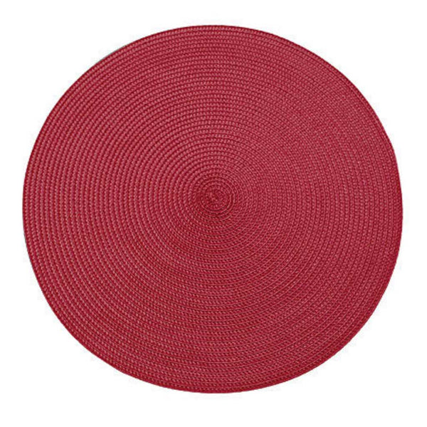 Walton & Co Circular Ribbed Place Mat in Red