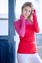 Long sleeve, crew neck base-layer in Red & Pink, made in Britain using 100% super fine merino wool.