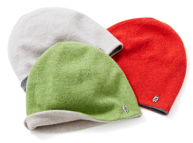Reversible lambswool beanies, made in Britain