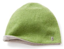 Green & pale Grey knitted lambswool beanie hat, made in England
