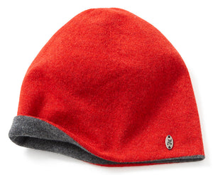Red & Grey knitted lambswool beanie hat, made in Britain