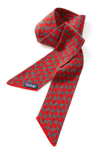 Foxology geo design scarf / necktie in Red & Grey, knitted in Britain using 100% geelong lambswool.