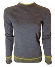 100% Merino wool jacquard crew jumper in mid grey