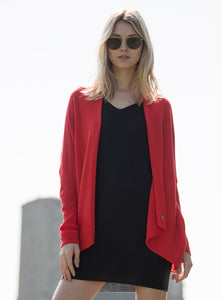 Red Shrug cardie in 100% merino wool