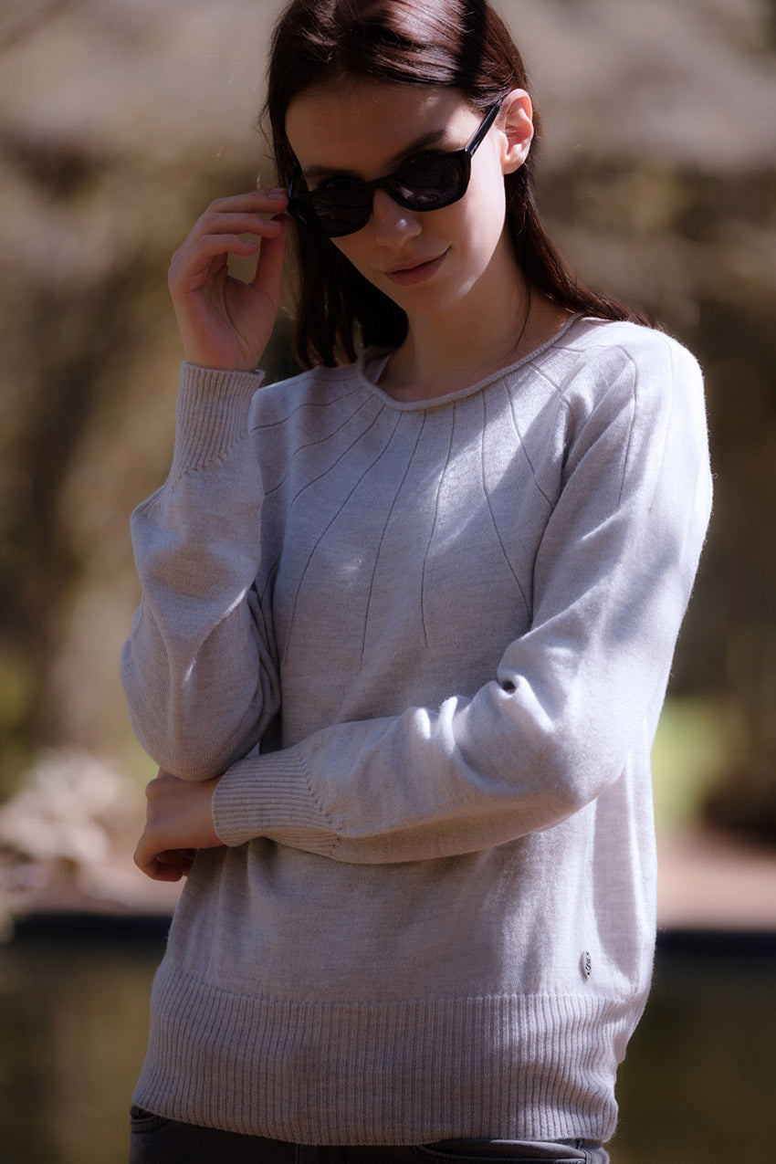 Foxology light grey sun ray jumper in 100% merino wool knitted in UK