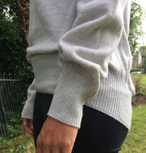 Pale grey round neck jumper in 100% merino wool knitted in UK