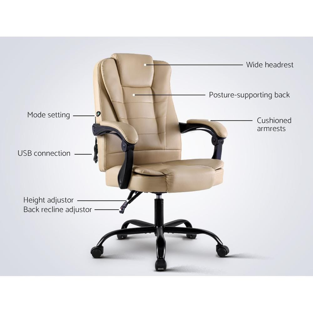 Deluxe Reclining Office Massage Chair - Khaki