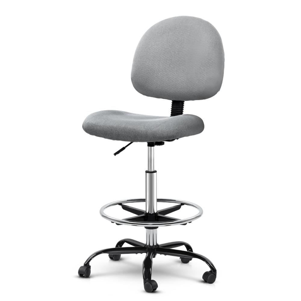 Artiss Office Chair Veer Drafting Stool Fabric Chairs Grey