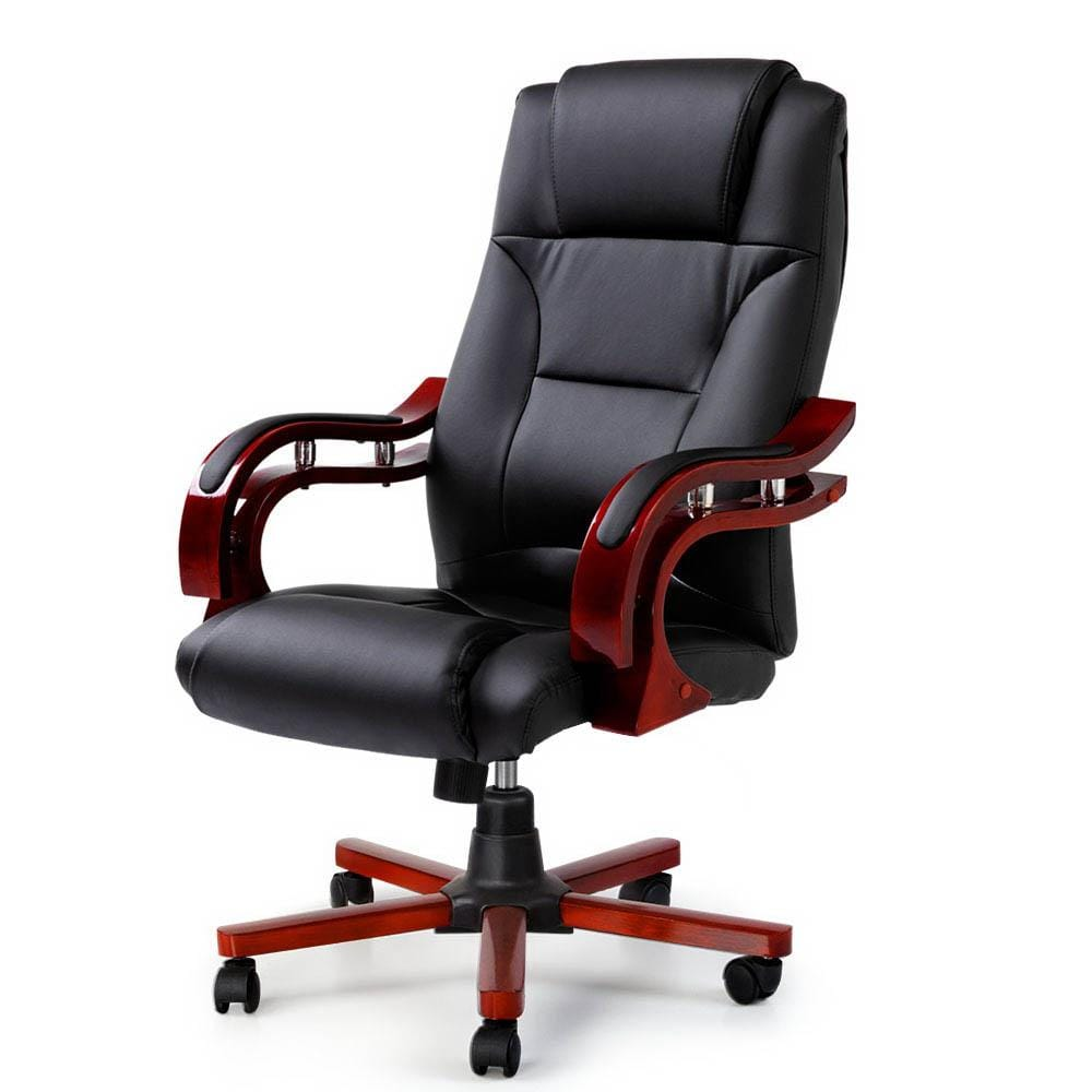 Sherman Executive Leather & Wood Office Chair