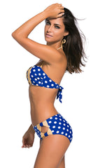 Blue White Dots Bow Detail High Waist Bathing Suit