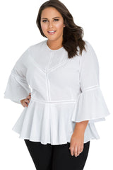 White Crochet Insert Bell Sleeve Plus Size Top