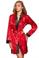 Flaming Red Lace Trim Satin Robe