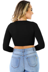 Black Straps and Grommet Detail Corset Crop Top