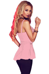 Pink Charming V Neck Flare Clubwear Top