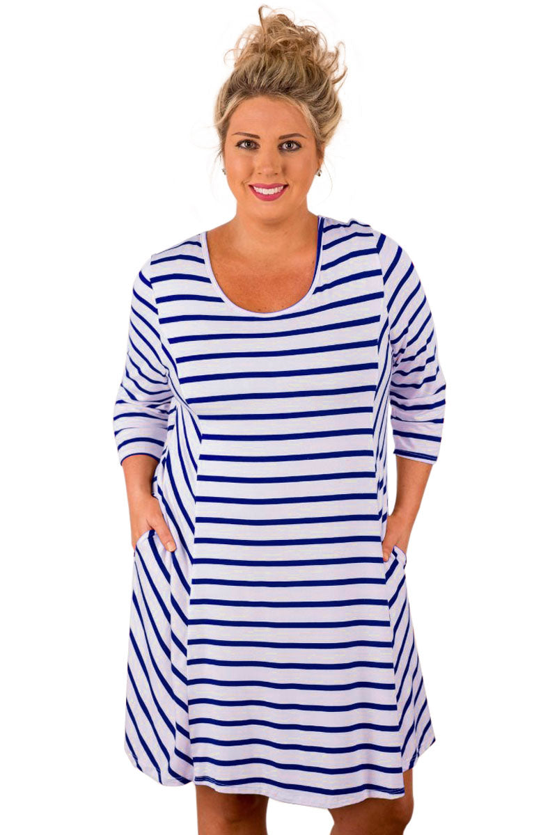 Blue White Stripes Relaxed Curvy Dress