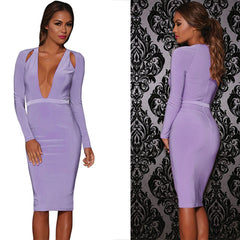 Shoulder Cutout Long Sleeve Jersey Dress - Online Women Jersey Dress