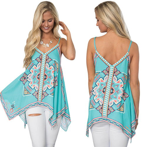 Bluish Tribal Print Summer Holiday Tank Top - Online Women Vests & Waistcoats Dress